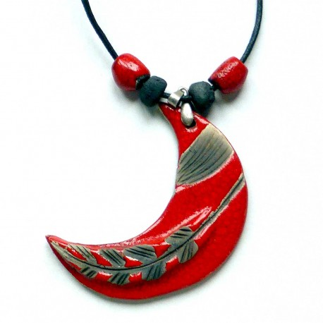 Grand collier lumineux lune rouge
