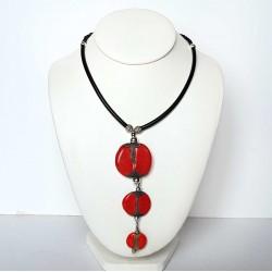 collier ethnique trio rouge et noir