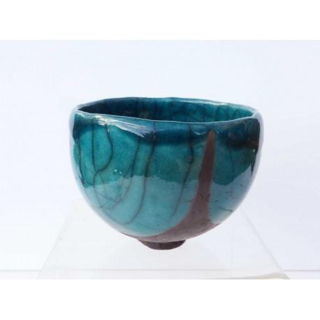 Bol à thé raku bleu turquoise