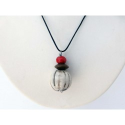 Collier nature raku blanc  et rouge