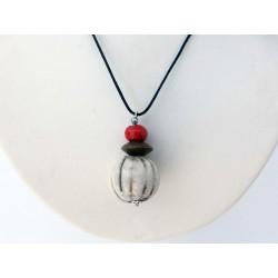 Collier nature raku blanc  et rouge