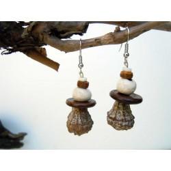 Boucles d'oreilles céramique et graines