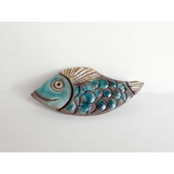 Broche poisson coquin bleu turquoise