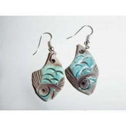 Boucles d'oreilles petits poissons turquoises