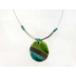 Collier léger rond vert et turquoise