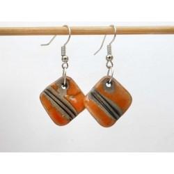 Boucles oreilles carré orange et noir