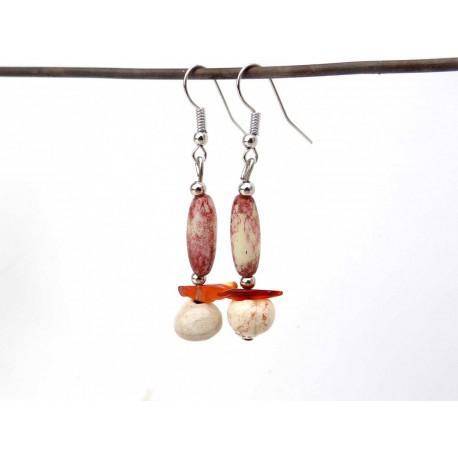 Boucles d'oreilles légères céramique  verre et cornaline