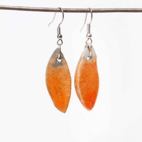 Boucles oreilles navettes oranges gaies