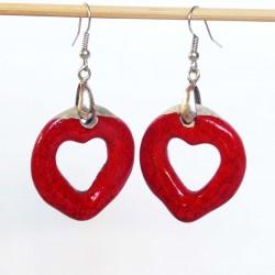 Boucles d'oreilles cœurs créoles rouges