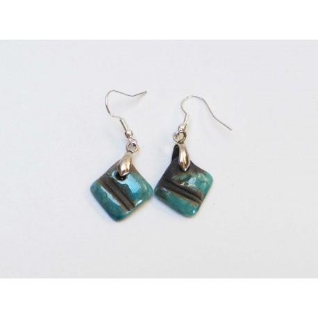 Boucles d'oreilles carrées turquoise  et noir
