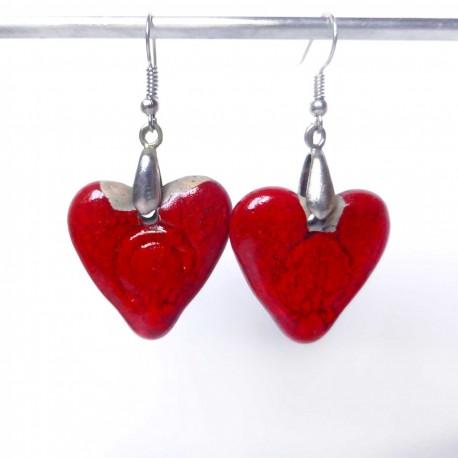 Boucles d'oreilles cœurs rouges lumineux
