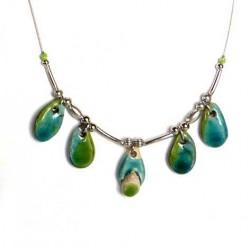 Collier bleu et vert chic, fin et léger