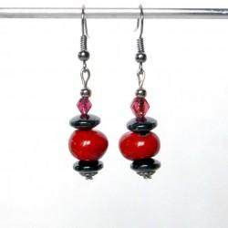 Boucles d'oreilles lumineuses en rouge et noir