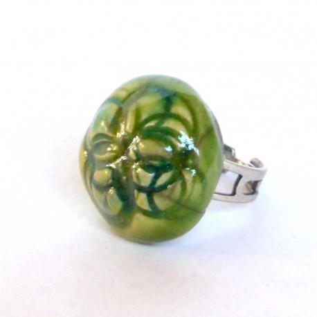 Bague ronde réglable vert printanier