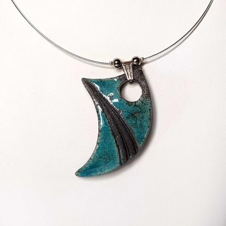Collier chic bleu turquoise et noir