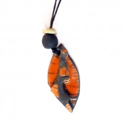 Collier original et artisanal  fantaisie orange