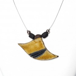 Collier jaune moutarde et noir original