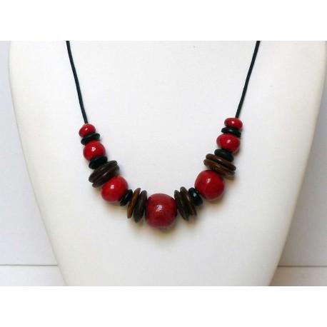Collier réglable grosses perles rouges