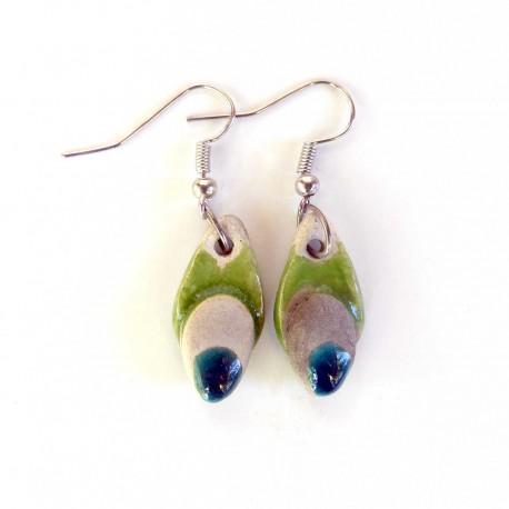 Boucles d'oreilles gouttes fantaisie nature vert gazon
