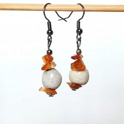 Boucles d'oreilles légères céramique et cornaline