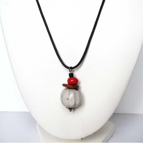 Collier blanc et rouge en céramique raku