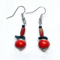 Boucles d'oreilles tendance rouges fantaisie
