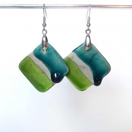 Boucles d'oreilles losanges en turquoise et vert