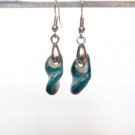 Boucles d'oreilles tortillons légers turquoises
