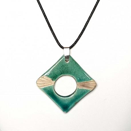 Collier turquoise réglable, fin et carré