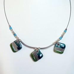 Collier chic bleu turquoise et vert léger, fin et discret