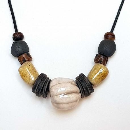 Collier perles raku bois et corne