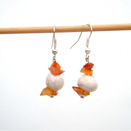 Boucles d'oreilles raku et  petites cornalines