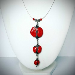 Collier trio rouge ethnique chic