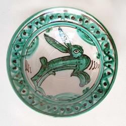 Petite coupe médiévale céramique à décor vert et brun