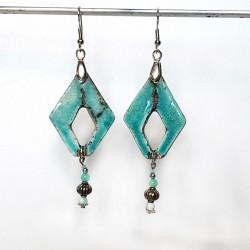 Boucles d'oreilles turquoises originales et uniques