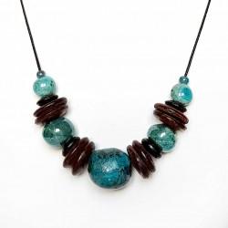 Collier réglable grosses perles turquoises