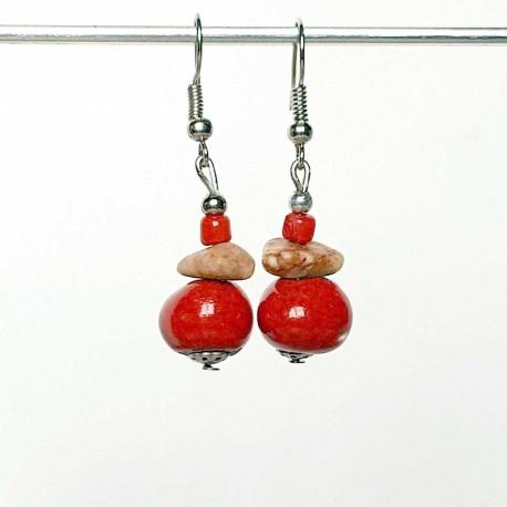 Boucles d'oreilles rouge pierre et céramique
