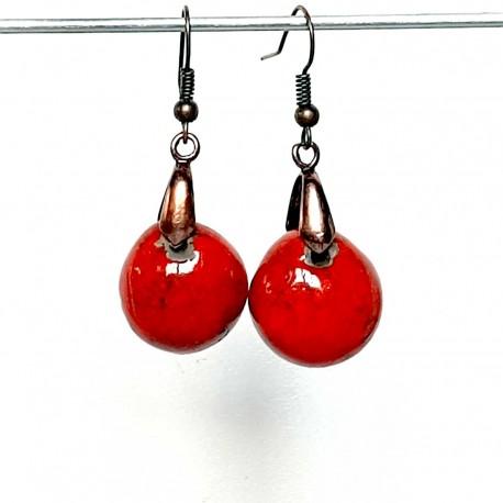 Boucles d'oreilles lumineuses rondeur rouge