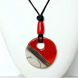 Grand collier rond  réglable rouge et blanc