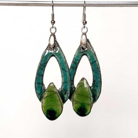 Boucles d'oreilles pendantes légères  turquoise et vert
