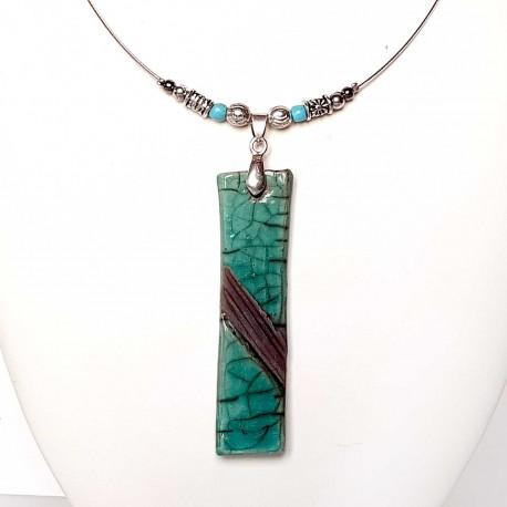 Collier rectangle turquoise et noir chic et raffiné