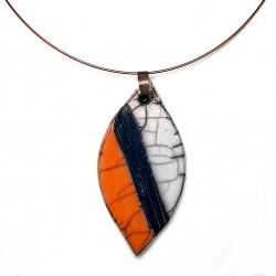 Collier original orange et blanc coloré et lumineux