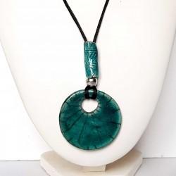 Collier artisanal réglable rondeur turquoise