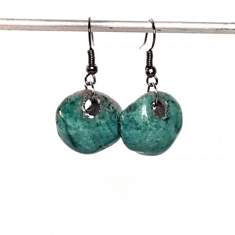 Boucles d'oreilles boules turquoises