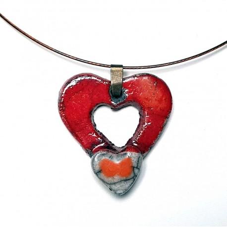 Collier double cœur rouge lumineux