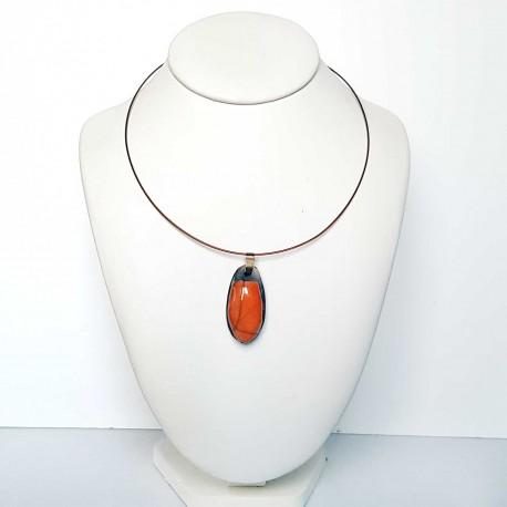 Collier scarabée orange