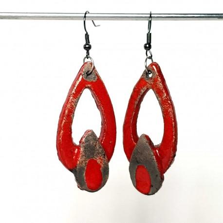 Boucles d'oreilles pandantes rouge vif