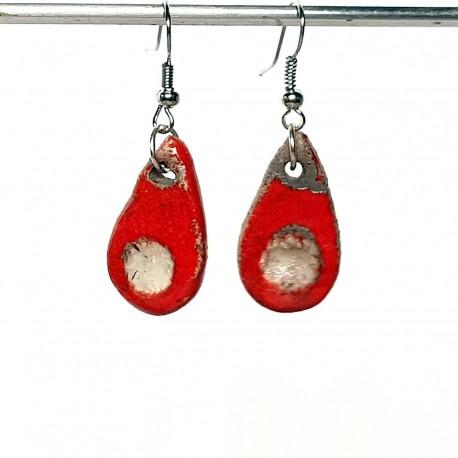 Boucles d'oreilles gouttes rouges lumineuses