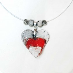 Collier triple cœur rouge et blanc
