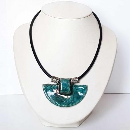 Collier ethnique bleu turquoise grand et réglable